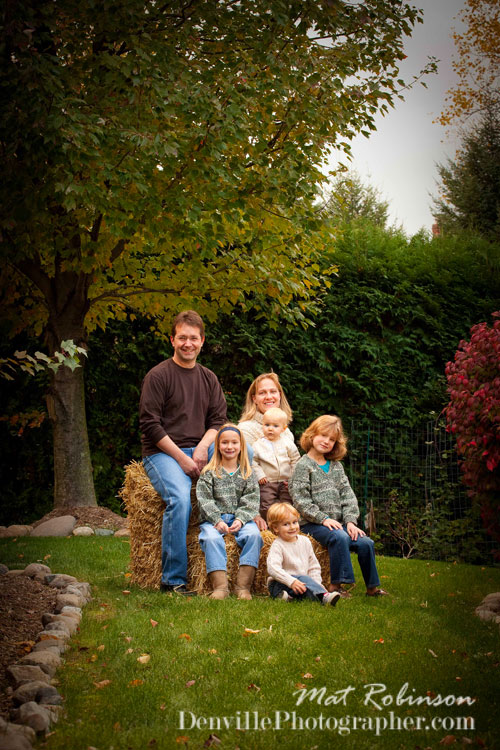 Outdoor family portraits in the fall in Denville, NJ, by photographer Mat Robinson